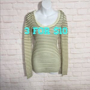 Free People green/cream striped knit long sleeve
